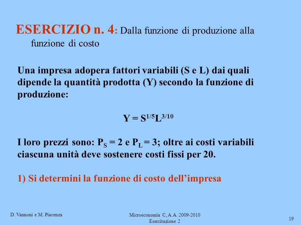 D. Vannoni e M. Piacenza Microeconomia C, A.A. 2009-2010 Esercitazione 2 19 ESERCIZIO n. 4 : Dalla funzione di produzione alla funzione di costo Una i