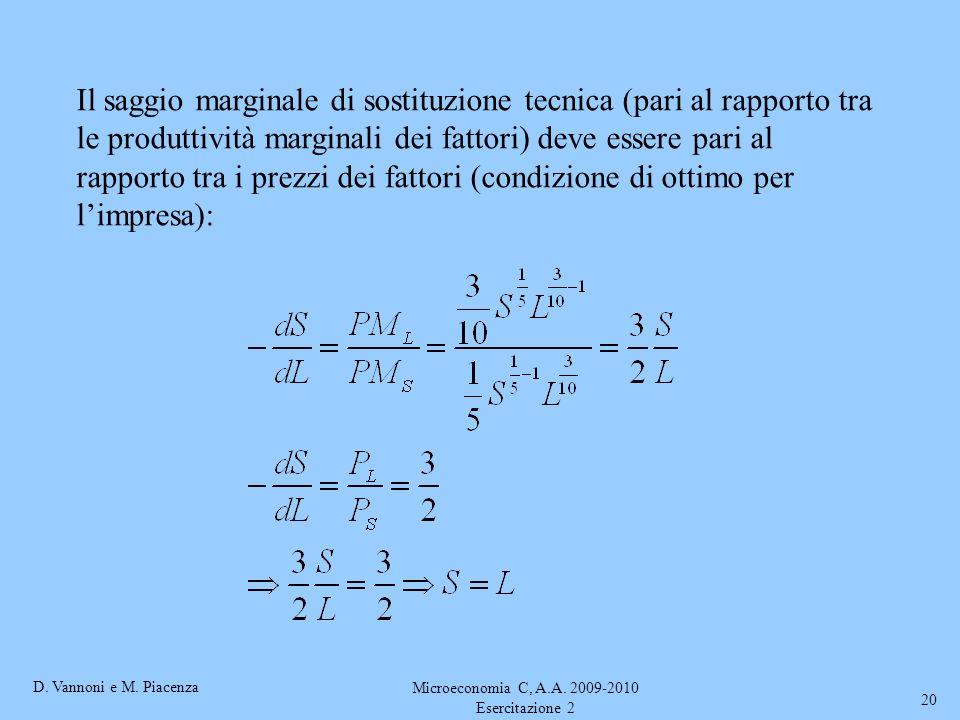 D. Vannoni e M. Piacenza Microeconomia C, A.A. 2009-2010 Esercitazione 2 20 Il saggio marginale di sostituzione tecnica (pari al rapporto tra le produ