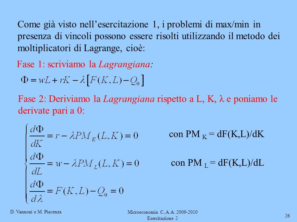 D. Vannoni e M. Piacenza Microeconomia C, A.A. 2009-2010 Esercitazione 2 26 Come già visto nellesercitazione 1, i problemi di max/min in presenza di v