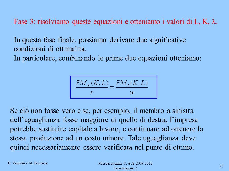 D. Vannoni e M. Piacenza Microeconomia C, A.A. 2009-2010 Esercitazione 2 27 Fase 3: risolviamo queste equazioni e otteniamo i valori di L, K, λ. In qu