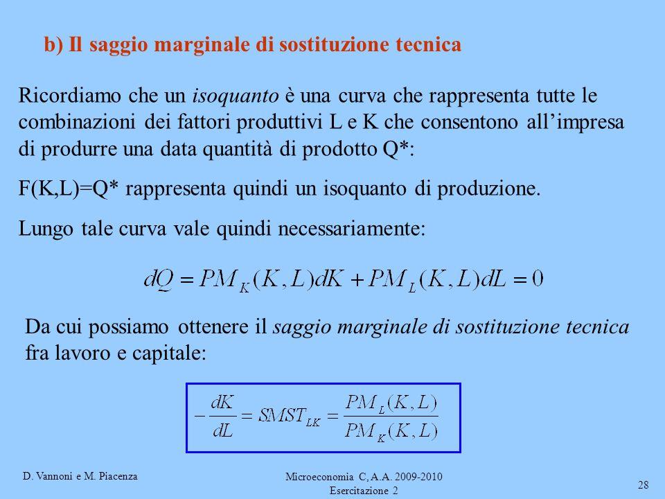 D. Vannoni e M. Piacenza Microeconomia C, A.A. 2009-2010 Esercitazione 2 28 b) Il saggio marginale di sostituzione tecnica Ricordiamo che un isoquanto