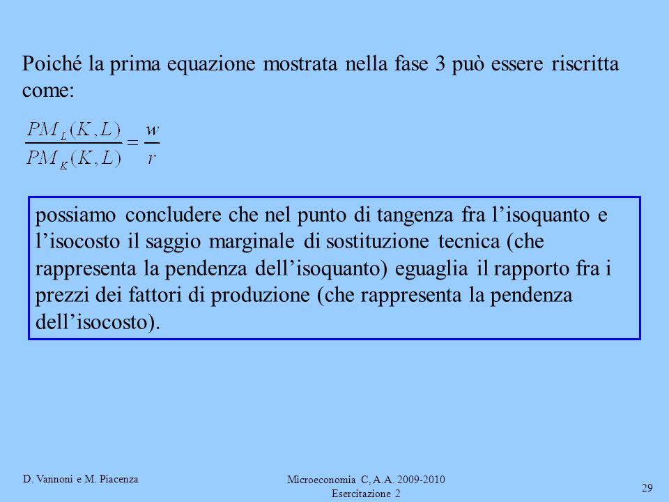 D. Vannoni e M. Piacenza Microeconomia C, A.A. 2009-2010 Esercitazione 2 29 Poiché la prima equazione mostrata nella fase 3 può essere riscritta come: