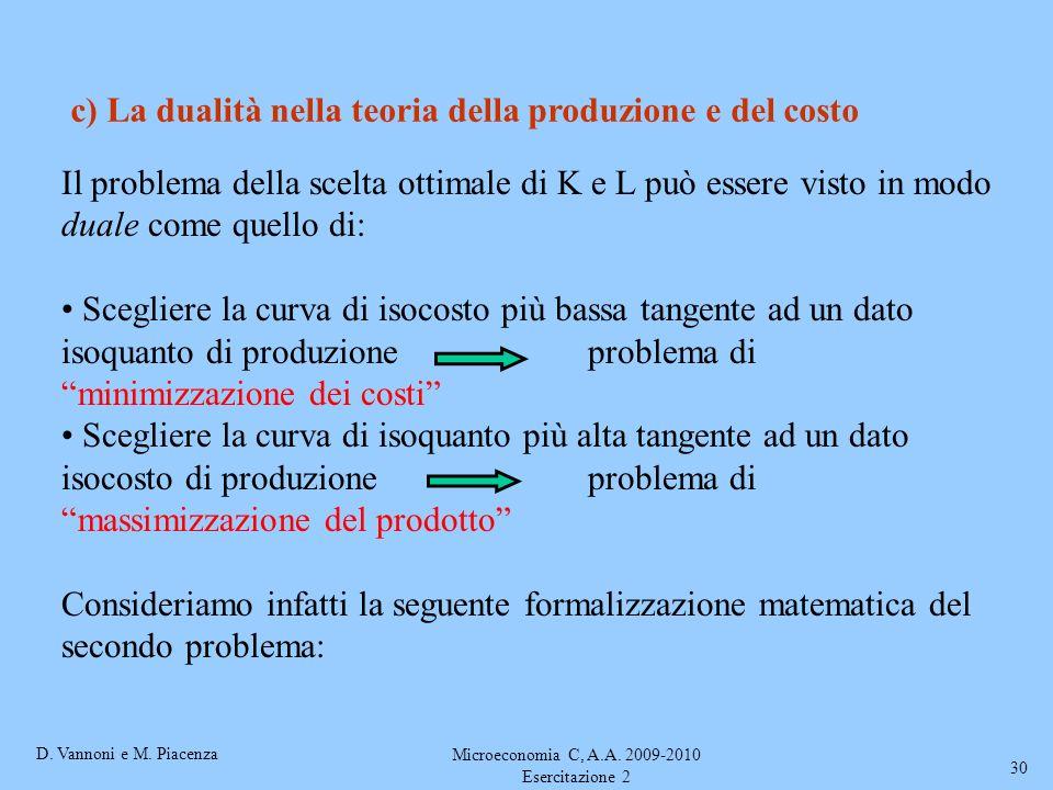 D. Vannoni e M. Piacenza Microeconomia C, A.A. 2009-2010 Esercitazione 2 30 c) La dualità nella teoria della produzione e del costo Il problema della