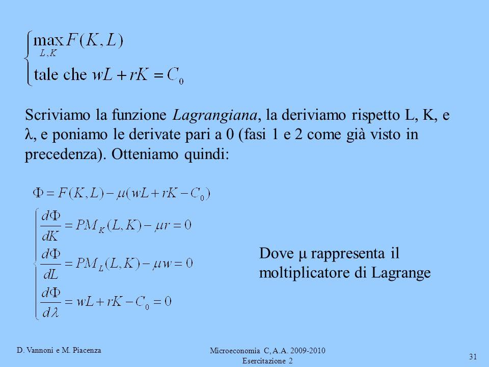 D. Vannoni e M. Piacenza Microeconomia C, A.A. 2009-2010 Esercitazione 2 31 Scriviamo la funzione Lagrangiana, la deriviamo rispetto L, K, e λ, e poni