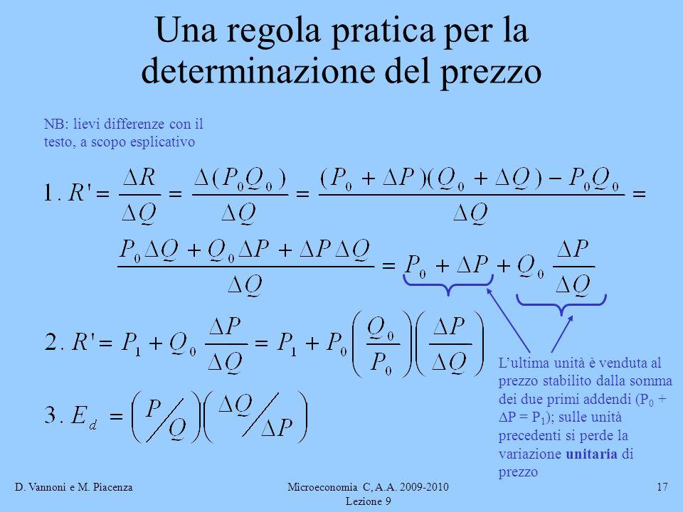 D. Vannoni e M. PiacenzaMicroeconomia C, A.A. 2009-2010 Lezione 9 17 Una regola pratica per la determinazione del prezzo NB: lievi differenze con il t