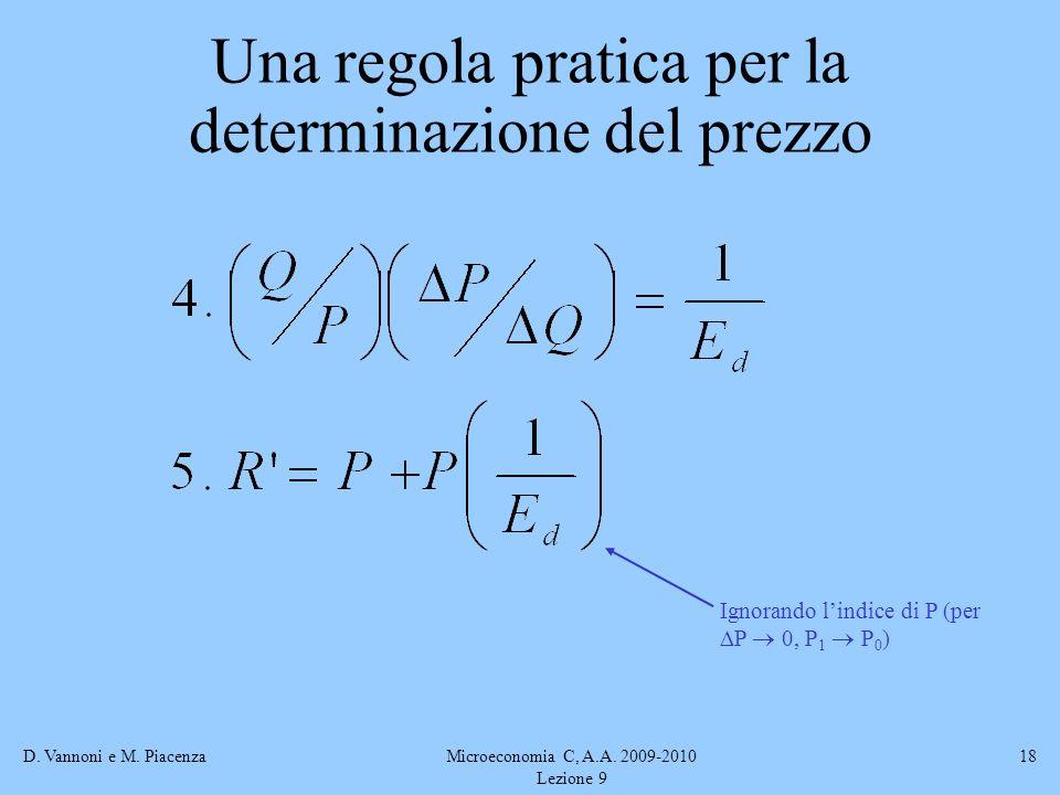 D. Vannoni e M. PiacenzaMicroeconomia C, A.A. 2009-2010 Lezione 9 18 Ignorando lindice di P (per P 0, P 1 P 0 ) Una regola pratica per la determinazio