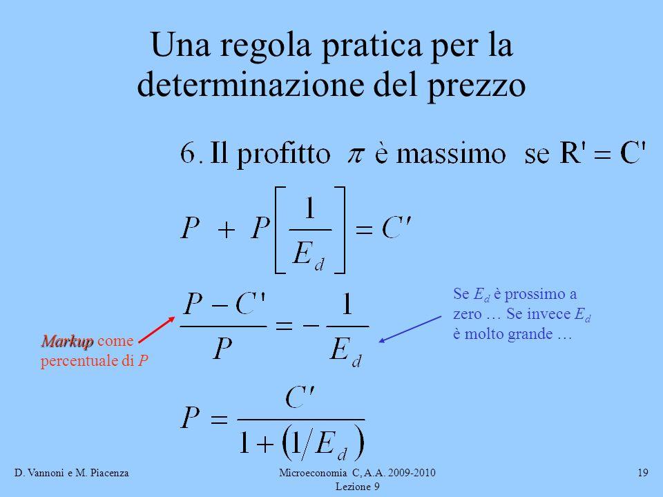 D. Vannoni e M. PiacenzaMicroeconomia C, A.A. 2009-2010 Lezione 9 19 Markup Markup come percentuale di P Se E d è prossimo a zero … Se invece E d è mo