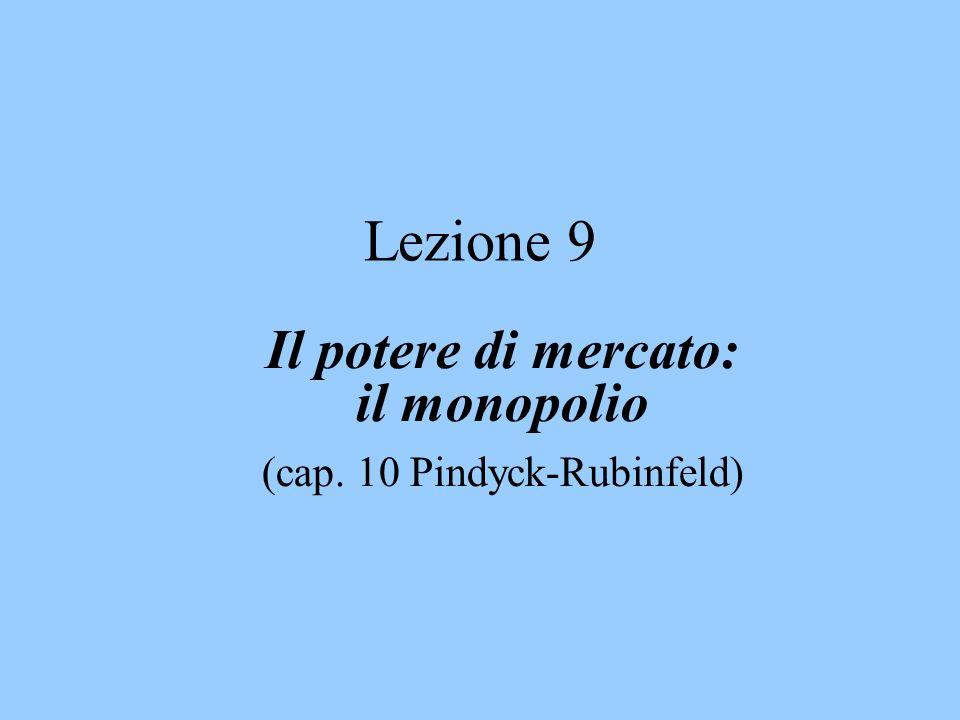 Lezione 9 Il potere di mercato: il monopolio (cap. 10 Pindyck-Rubinfeld)
