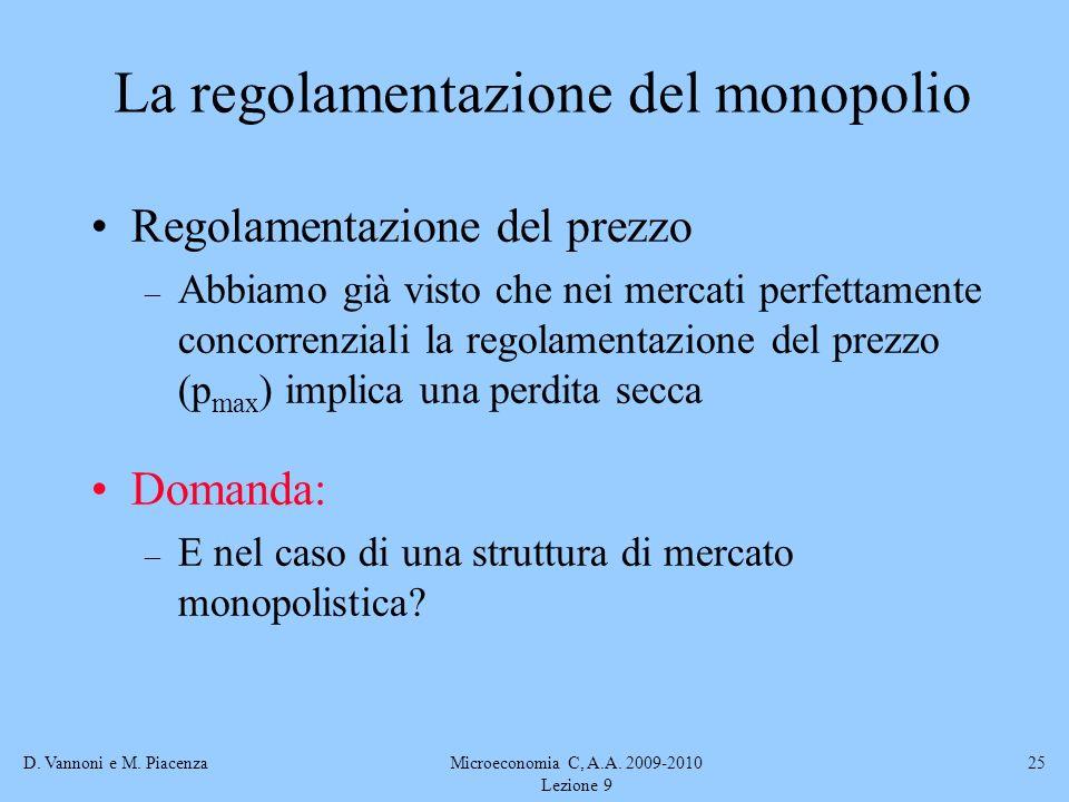 D. Vannoni e M. PiacenzaMicroeconomia C, A.A. 2009-2010 Lezione 9 25 Regolamentazione del prezzo – Abbiamo già visto che nei mercati perfettamente con