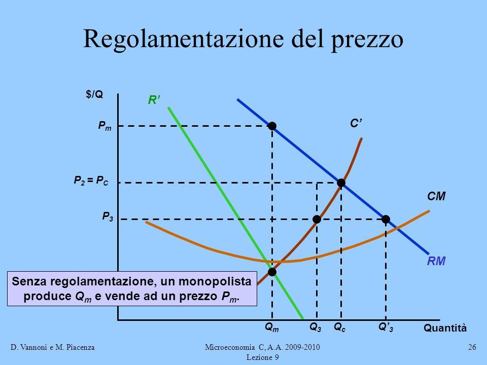 D. Vannoni e M. PiacenzaMicroeconomia C, A.A. 2009-2010 Lezione 9 26 RM R C PmPm QmQm CM Senza regolamentazione, un monopolista produce Q m e vende ad