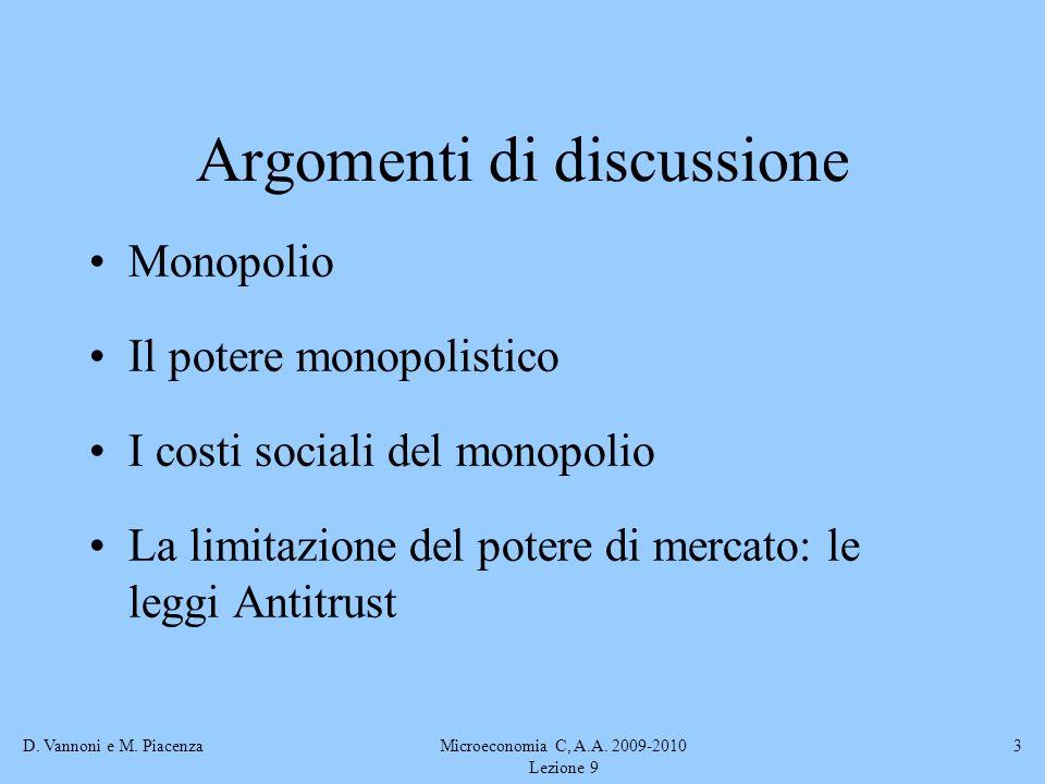 D. Vannoni e M. PiacenzaMicroeconomia C, A.A. 2009-2010 Lezione 9 3 Argomenti di discussione Monopolio Il potere monopolistico I costi sociali del mon