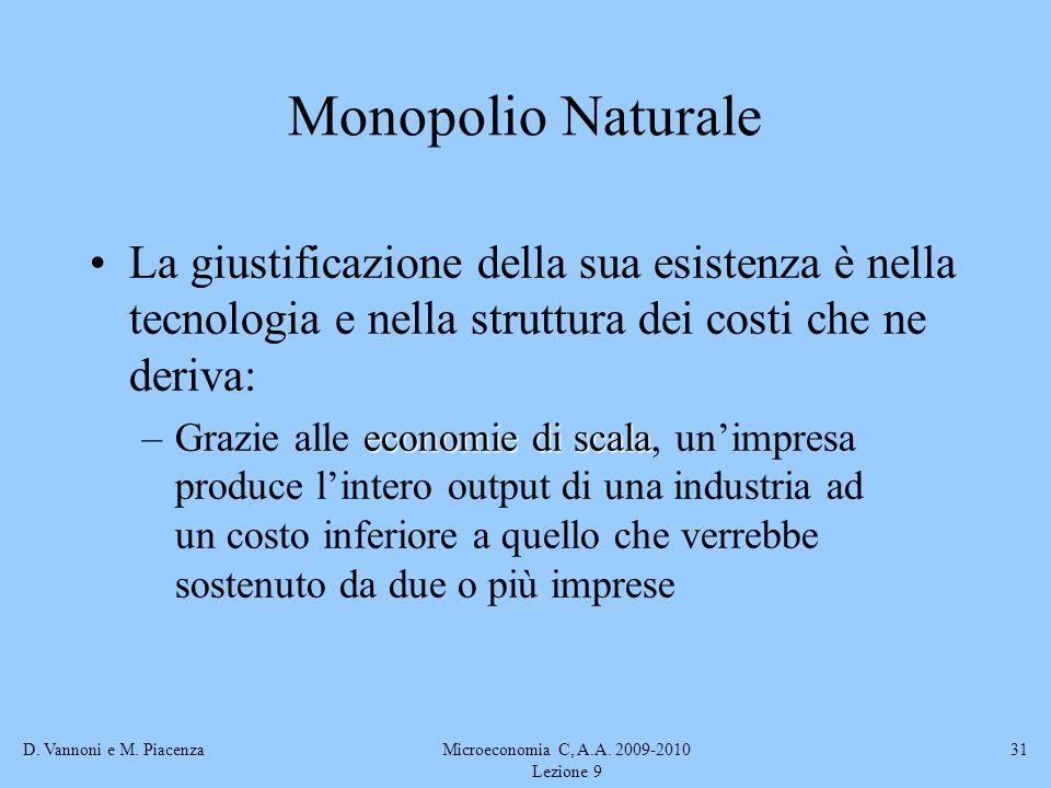 D. Vannoni e M. PiacenzaMicroeconomia C, A.A. 2009-2010 Lezione 9 31 La giustificazione della sua esistenza è nella tecnologia e nella struttura dei c