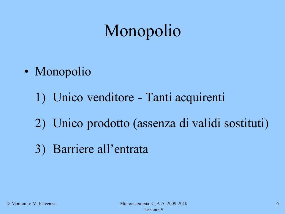 D. Vannoni e M. PiacenzaMicroeconomia C, A.A. 2009-2010 Lezione 9 6 Monopolio 1) Unico venditore - Tanti acquirenti 2)Unico prodotto (assenza di valid