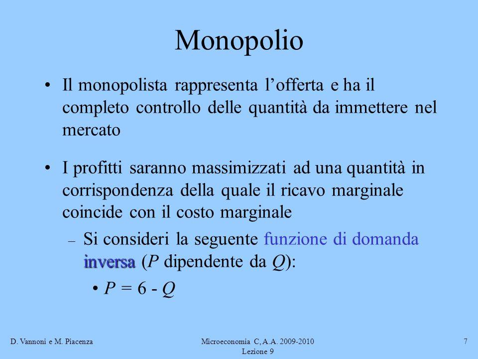 D. Vannoni e M. PiacenzaMicroeconomia C, A.A. 2009-2010 Lezione 9 7 Monopolio Il monopolista rappresenta lofferta e ha il completo controllo delle qua