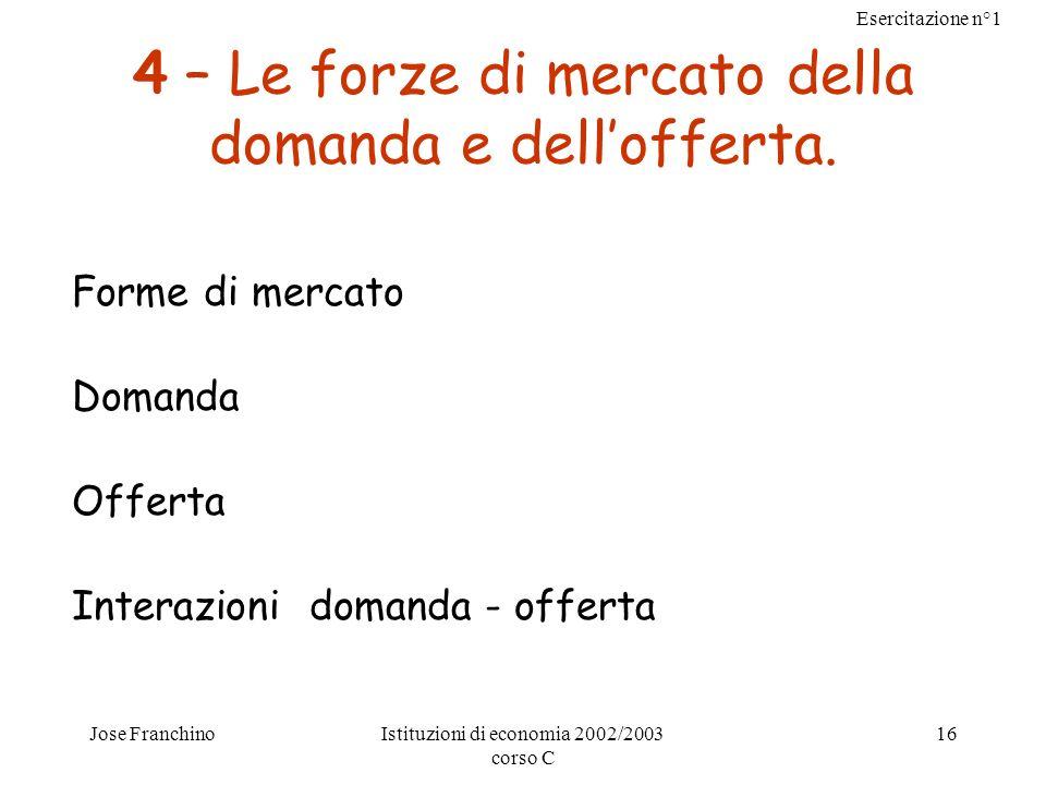 Esercitazione n°1 Jose FranchinoIstituzioni di economia 2002/2003 corso C 16 4 – Le forze di mercato della domanda e dellofferta. Forme di mercato Dom
