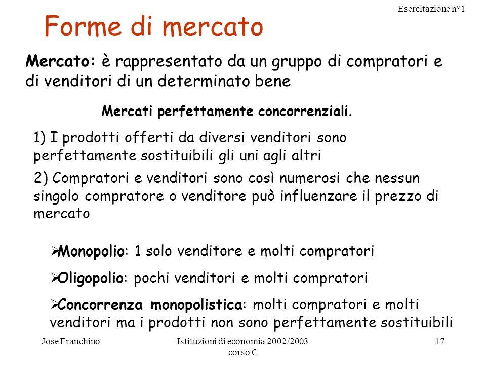 Esercitazione n°1 Jose FranchinoIstituzioni di economia 2002/2003 corso C 17 Forme di mercato Mercato: è rappresentato da un gruppo di compratori e di