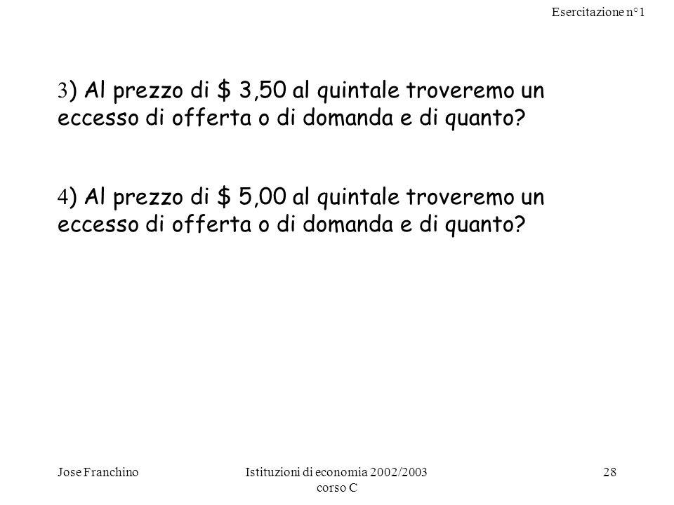 Esercitazione n°1 Jose FranchinoIstituzioni di economia 2002/2003 corso C 28 3 ) Al prezzo di $ 3,50 al quintale troveremo un eccesso di offerta o di