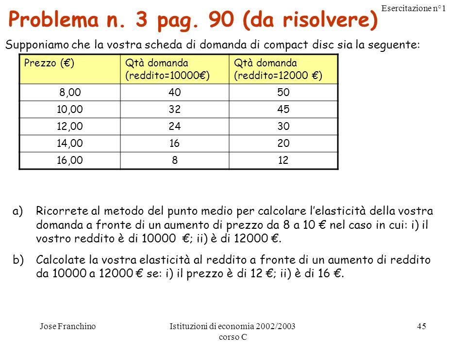 Esercitazione n°1 Jose FranchinoIstituzioni di economia 2002/2003 corso C 45 Problema n. 3 pag. 90 (da risolvere) Supponiamo che la vostra scheda di d