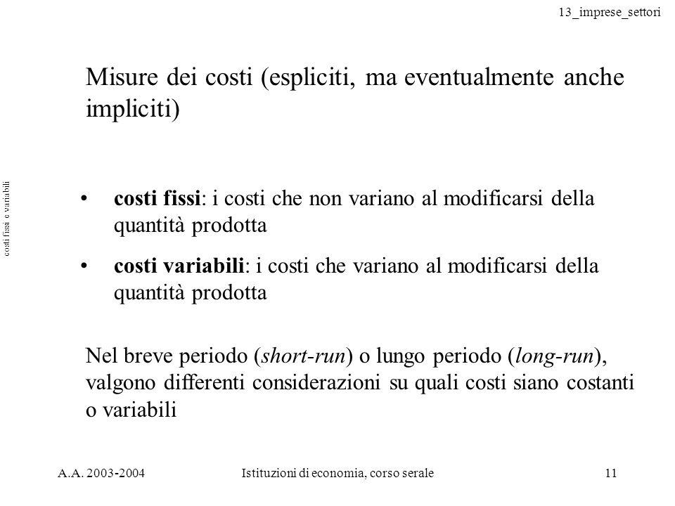 13_imprese_settori A.A. 2003-2004Istituzioni di economia, corso serale11 Misure dei costi (espliciti, ma eventualmente anche impliciti) costi fissi: i