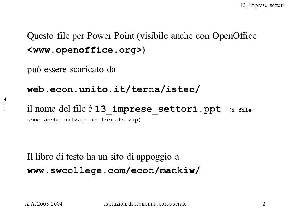 13_imprese_settori A.A. 2003-2004Istituzioni di economia, corso serale2 Questo file per Power Point (visibile anche con OpenOffice ) può essere scaric