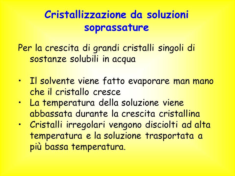 Cristallizzazione da soluzioni soprassature Per la crescita di grandi cristalli singoli di sostanze solubili in acqua Il solvente viene fatto evaporar