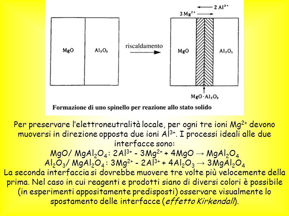 Per preservare lelettroneutralità locale, per ogni tre ioni Mg 2+ devono muoversi in direzione opposta due ioni Al 3+. I processi ideali alle due inte