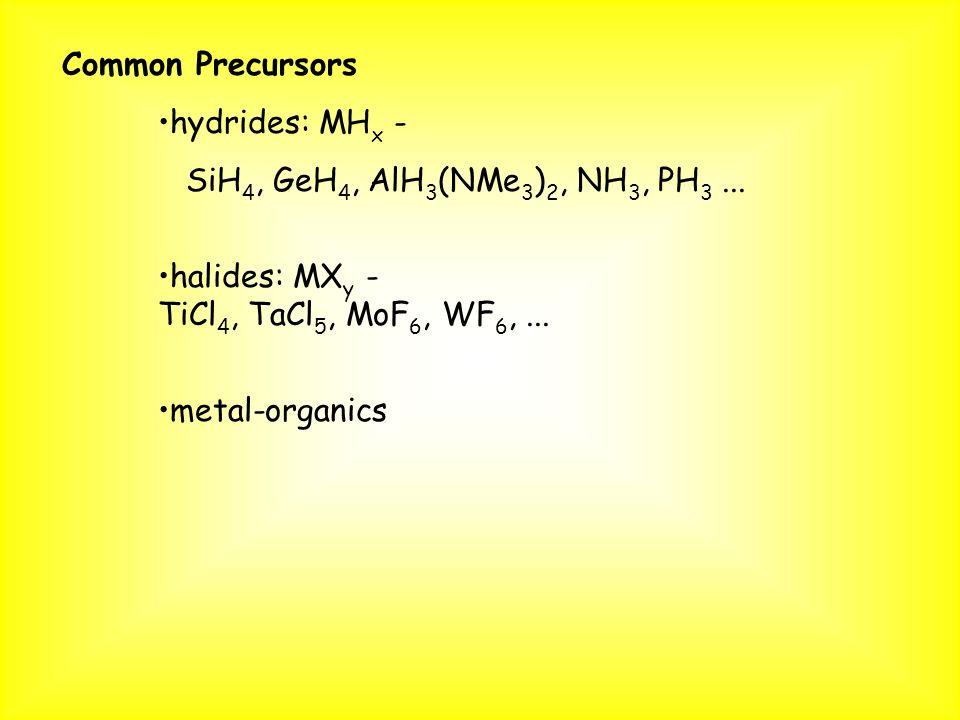 Common Precursors hydrides: MH x - SiH 4, GeH 4, AlH 3 (NMe 3 ) 2, NH 3, PH 3... halides: MX y - TiCl 4, TaCl 5, MoF 6, WF 6,... metal-organics