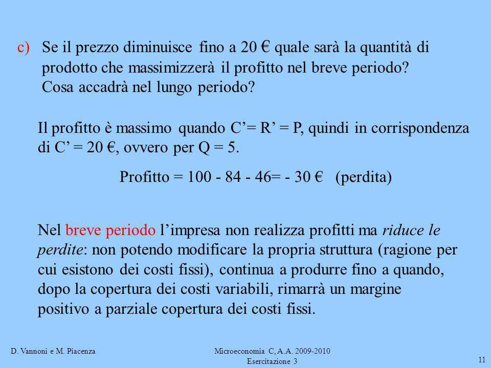 D. Vannoni e M. PiacenzaMicroeconomia C, A.A. 2009-2010 Esercitazione 3 11 c)Se il prezzo diminuisce fino a 20 quale sarà la quantità di prodotto che
