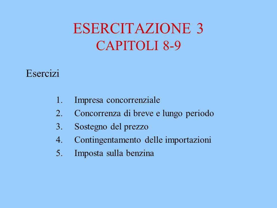 ESERCITAZIONE 3 CAPITOLI 8-9 1.Impresa concorrenziale 2.Concorrenza di breve e lungo periodo 3.Sostegno del prezzo 4.Contingentamento delle importazio