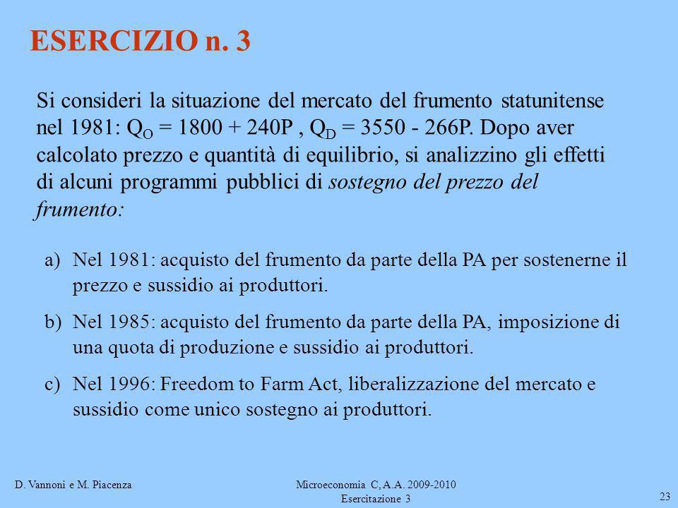 D. Vannoni e M. PiacenzaMicroeconomia C, A.A. 2009-2010 Esercitazione 3 23 ESERCIZIO n. 3 a)Nel 1981: acquisto del frumento da parte della PA per sost