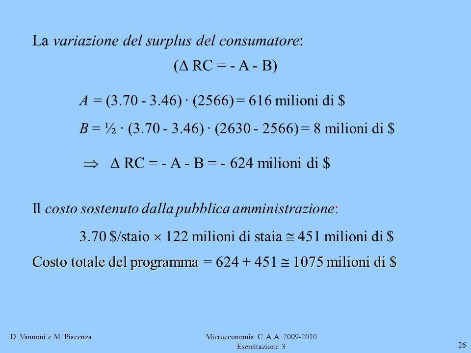 D. Vannoni e M. PiacenzaMicroeconomia C, A.A. 2009-2010 Esercitazione 3 26 La variazione del surplus del consumatore: ( RC = - A - B) A = (3.70 - 3.46