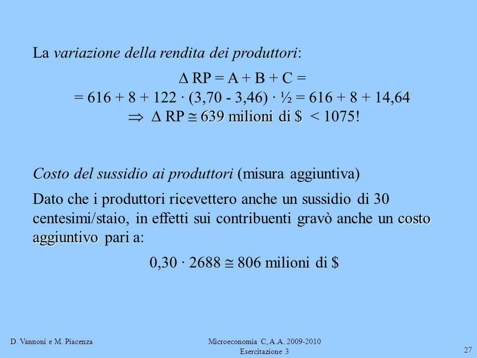 D. Vannoni e M. PiacenzaMicroeconomia C, A.A. 2009-2010 Esercitazione 3 27 La variazione della rendita dei produttori: RP = A + B + C = = 616 + 8 + 12