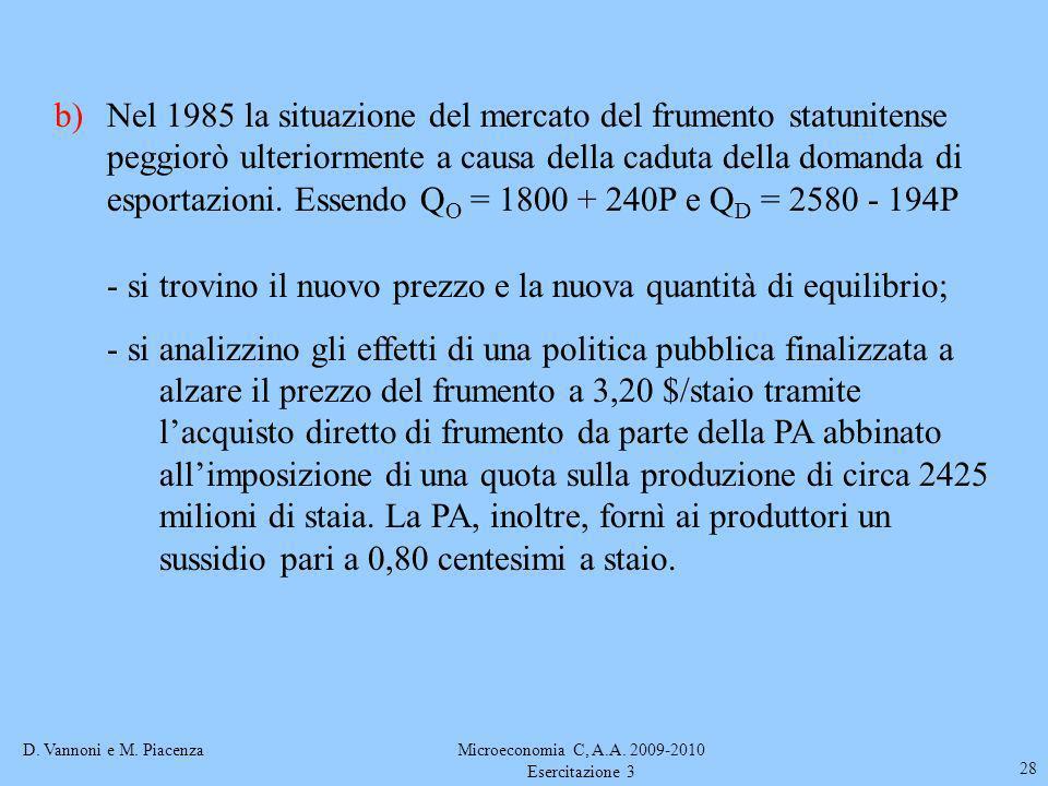 D. Vannoni e M. PiacenzaMicroeconomia C, A.A. 2009-2010 Esercitazione 3 28 b)Nel 1985 la situazione del mercato del frumento statunitense peggiorò ult
