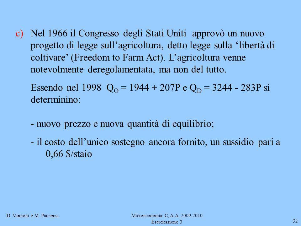D. Vannoni e M. PiacenzaMicroeconomia C, A.A. 2009-2010 Esercitazione 3 32 c)Nel 1966 il Congresso degli Stati Uniti approvò un nuovo progetto di legg