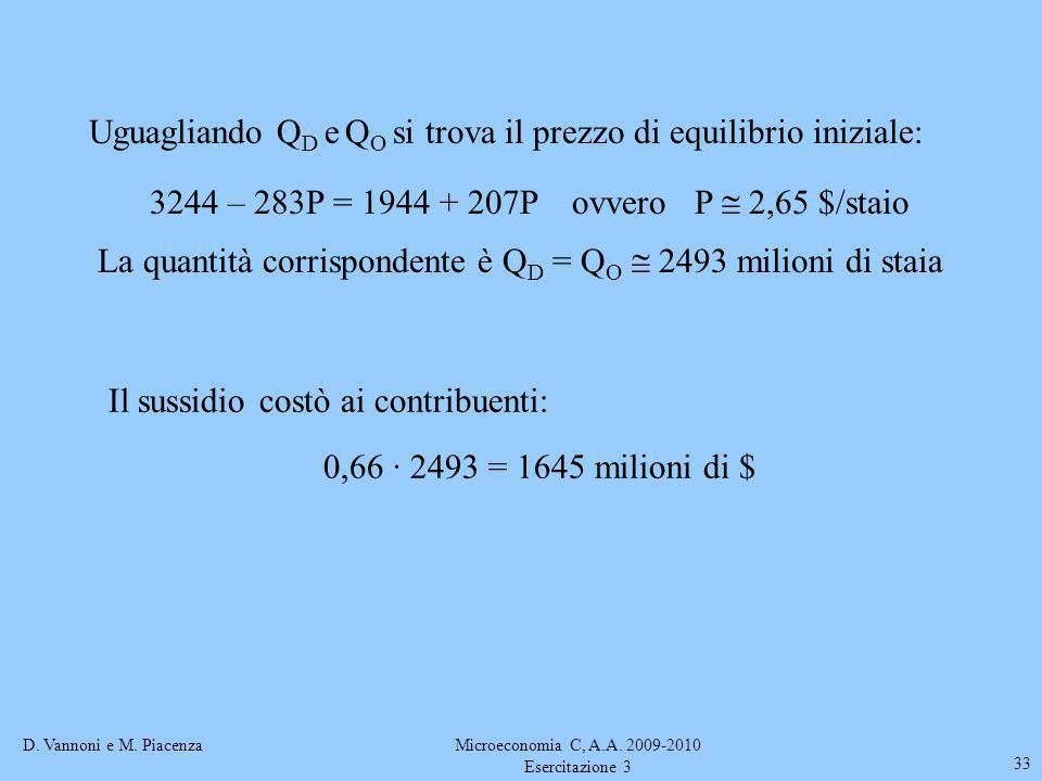D. Vannoni e M. PiacenzaMicroeconomia C, A.A. 2009-2010 Esercitazione 3 33 Uguagliando Q D e Q O si trova il prezzo di equilibrio iniziale: 3244 – 283