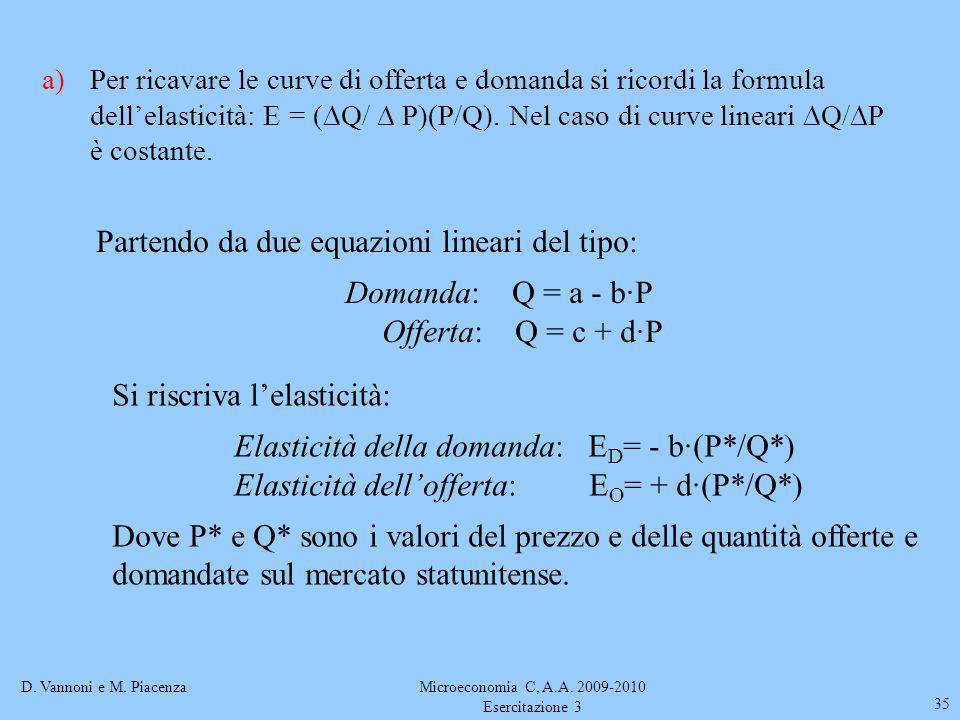 D. Vannoni e M. PiacenzaMicroeconomia C, A.A. 2009-2010 Esercitazione 3 35 a)Per ricavare le curve di offerta e domanda si ricordi la formula dellelas