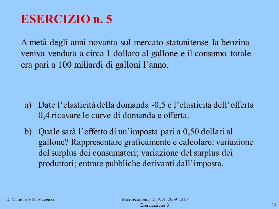 D. Vannoni e M. PiacenzaMicroeconomia C, A.A. 2009-2010 Esercitazione 3 40 ESERCIZIO n. 5 A metà degli anni novanta sul mercato statunitense la benzin