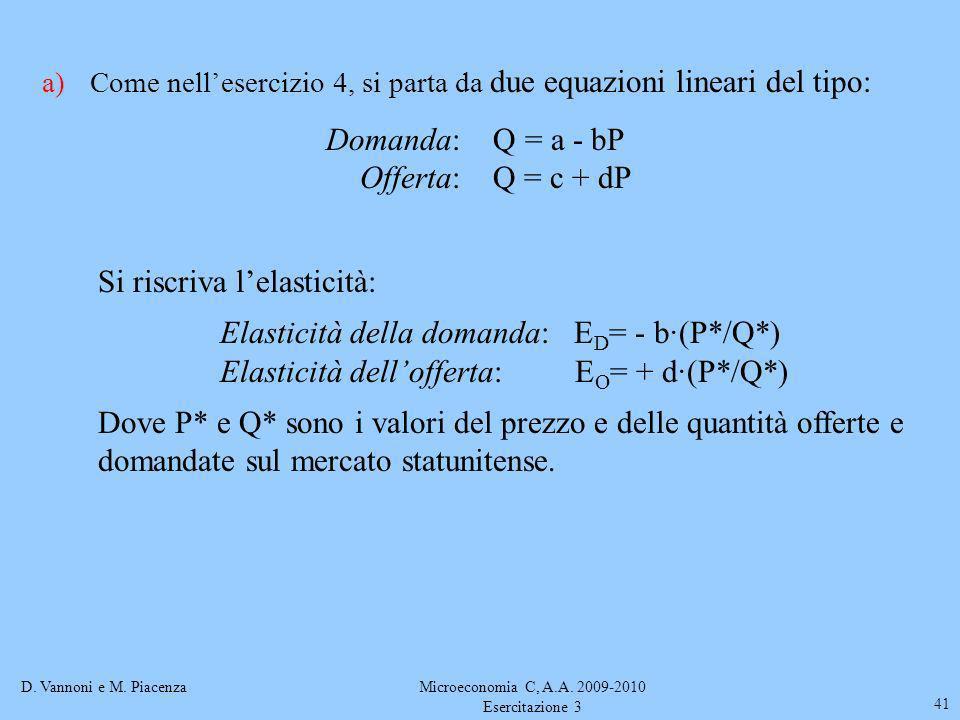 D. Vannoni e M. PiacenzaMicroeconomia C, A.A. 2009-2010 Esercitazione 3 41 a)Come nellesercizio 4, si parta da due equazioni lineari del tipo: Domanda