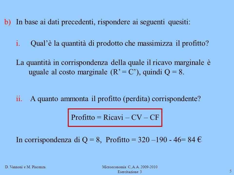 D. Vannoni e M. PiacenzaMicroeconomia C, A.A. 2009-2010 Esercitazione 3 5 b)In base ai dati precedenti, rispondere ai seguenti quesiti: i. Qualè la qu