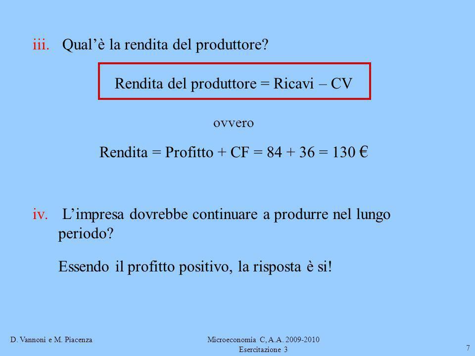 D. Vannoni e M. PiacenzaMicroeconomia C, A.A. 2009-2010 Esercitazione 3 7 iii. Qualè la rendita del produttore? Rendita del produttore = Ricavi – CV o