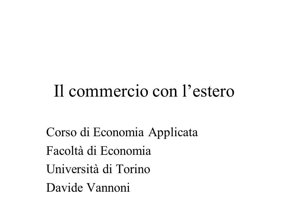 Il commercio con lestero Corso di Economia Applicata Facoltà di Economia Università di Torino Davide Vannoni