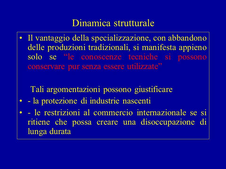 Dinamica strutturale Il vantaggio della specializzazione, con abbandono delle produzioni tradizionali, si manifesta appieno solo se le conoscenze tecn