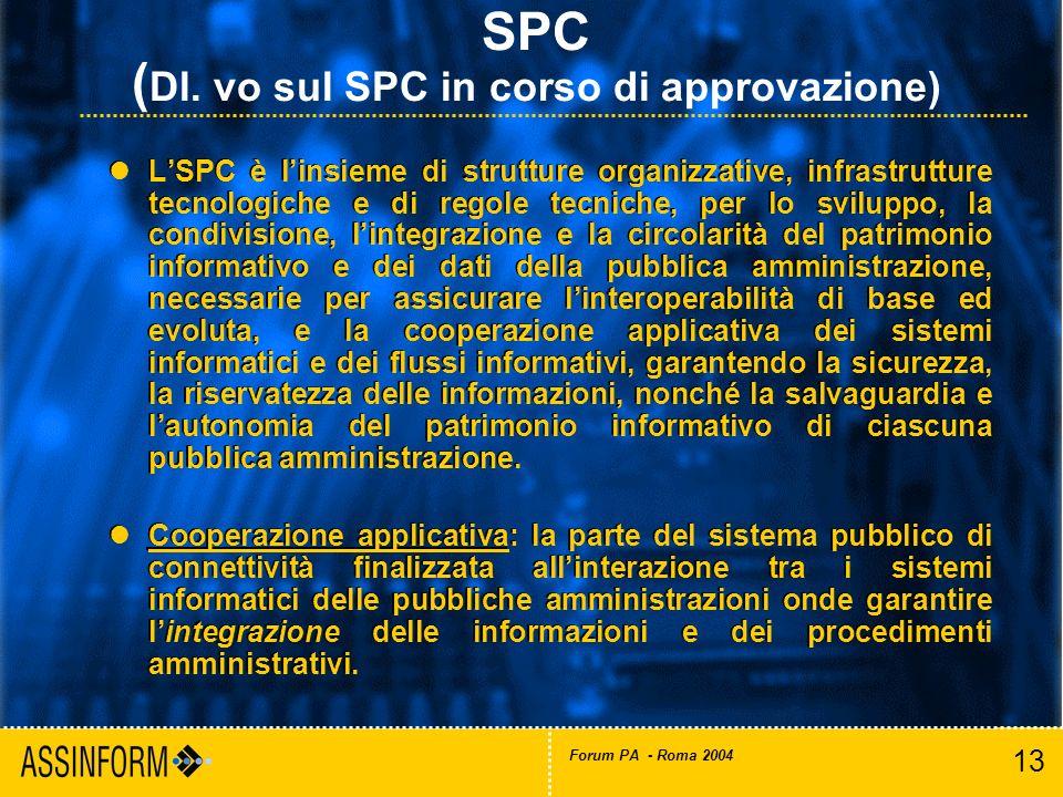13 Forum PA - Roma 2004 LSPC è linsieme di strutture organizzative, infrastrutture tecnologiche e di regole tecniche, per lo sviluppo, la condivisione