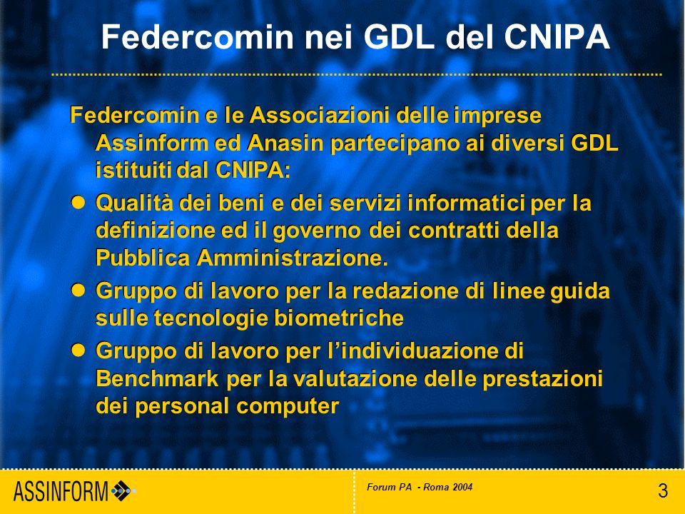 3 Forum PA - Roma 2004 Federcomin nei GDL del CNIPA Federcomin e le Associazioni delle imprese Assinform ed Anasin partecipano ai diversi GDL istituit