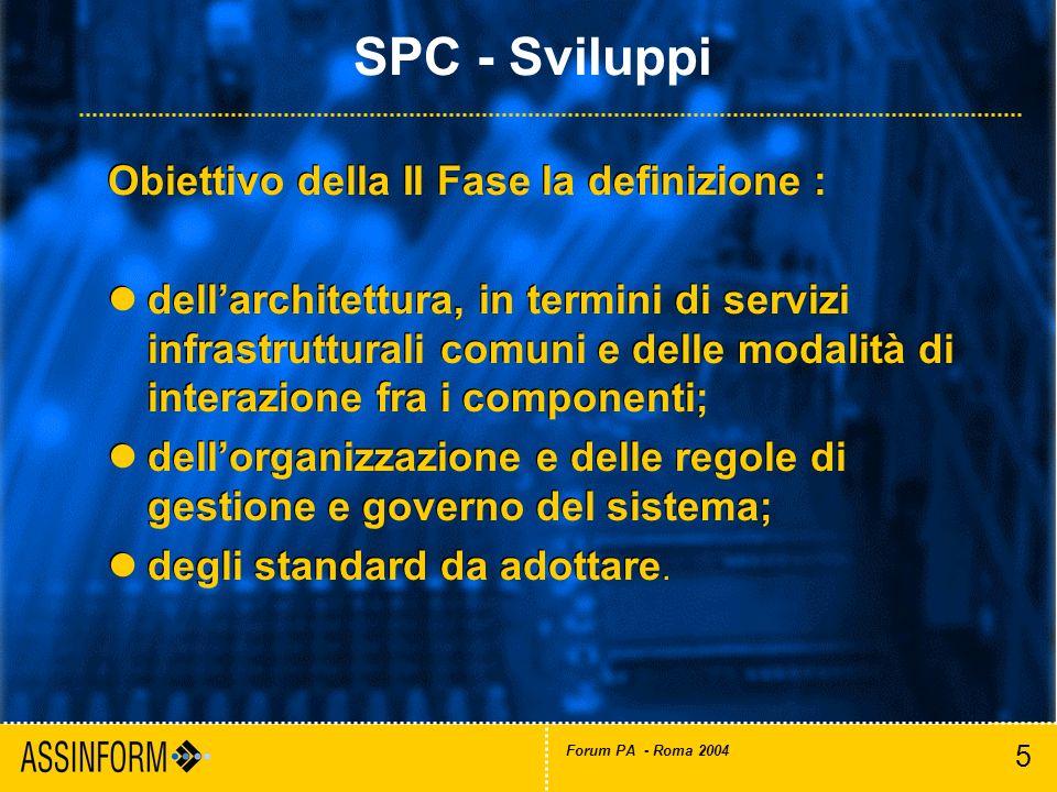 5 Forum PA - Roma 2004 Obiettivo della II Fase la definizione : dellarchitettura, in termini di servizi infrastrutturali comuni e delle modalità di in
