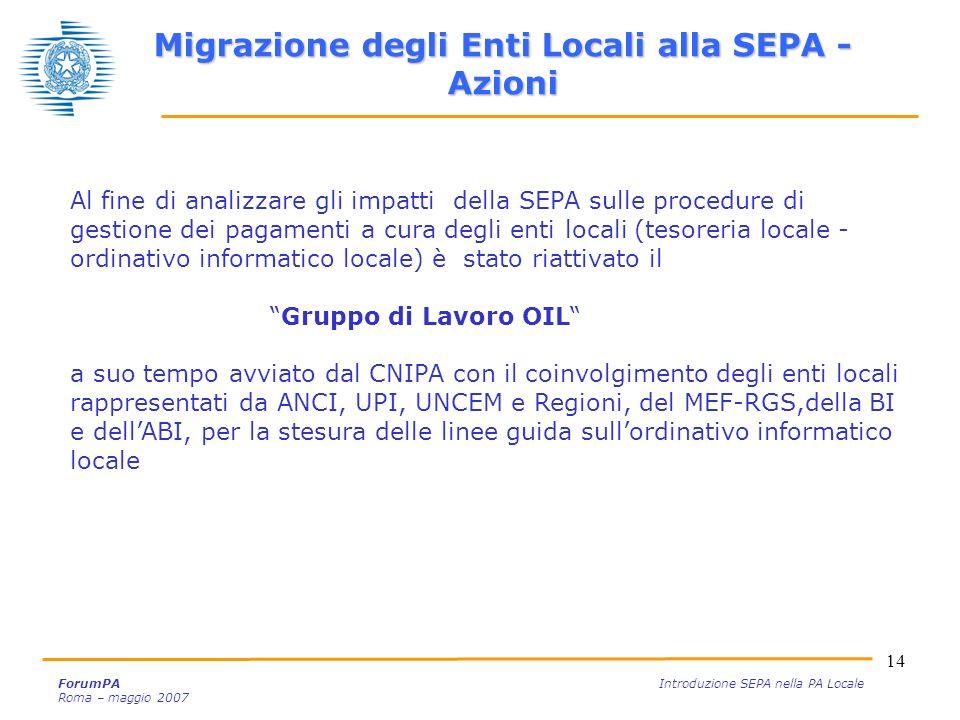 14 ForumPA Introduzione SEPA nella PA Locale Roma – maggio 2007 Al fine di analizzare gli impatti della SEPA sulle procedure di gestione dei pagamenti