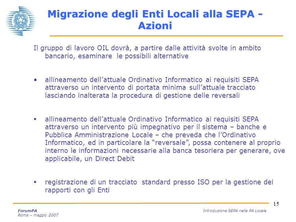 15 ForumPA Introduzione SEPA nella PA Locale Roma – maggio 2007 Migrazione degli Enti Locali alla SEPA - Azioni Il gruppo di lavoro OIL dovrà, a parti