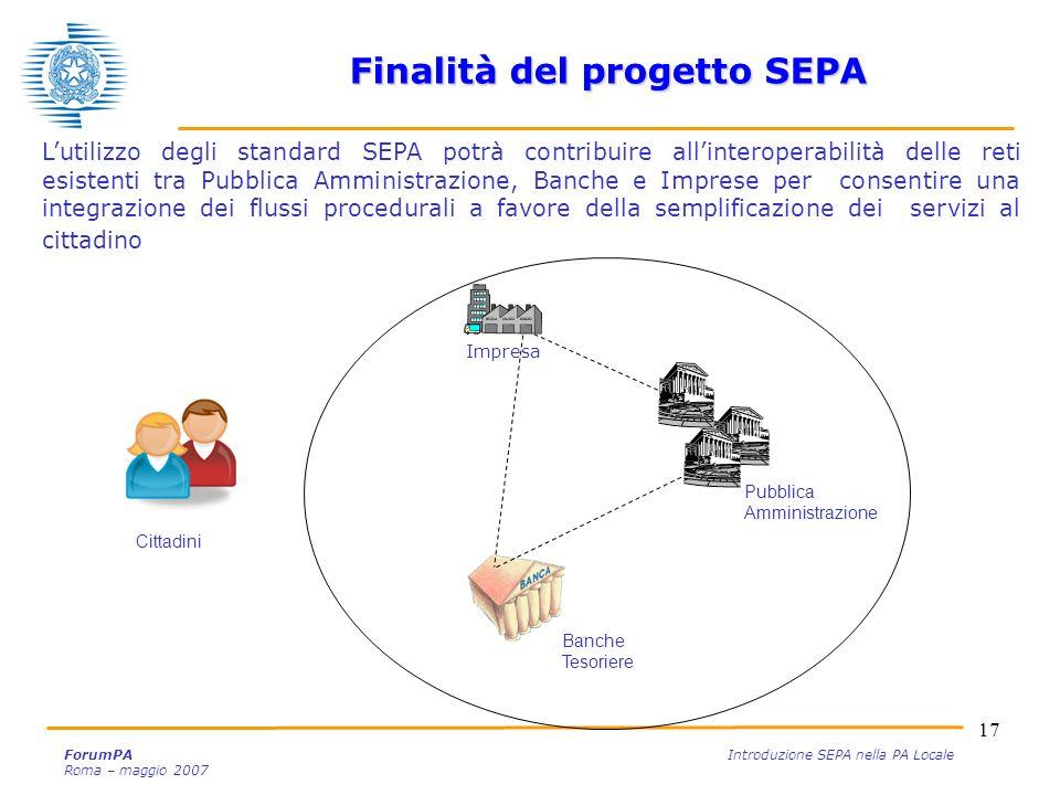 17 ForumPA Introduzione SEPA nella PA Locale Roma – maggio 2007 Lutilizzo degli standard SEPA potrà contribuire allinteroperabilità delle reti esisten