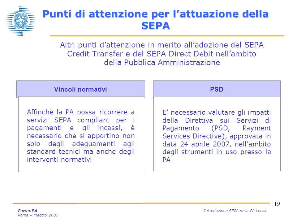 19 ForumPA Introduzione SEPA nella PA Locale Roma – maggio 2007 Vincoli normativi PSD Altri punti dattenzione in merito alladozione del SEPA Credit Tr