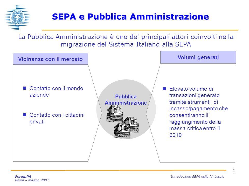 2 ForumPA Introduzione SEPA nella PA Locale Roma – maggio 2007 La Pubblica Amministrazione è uno dei principali attori coinvolti nella migrazione del